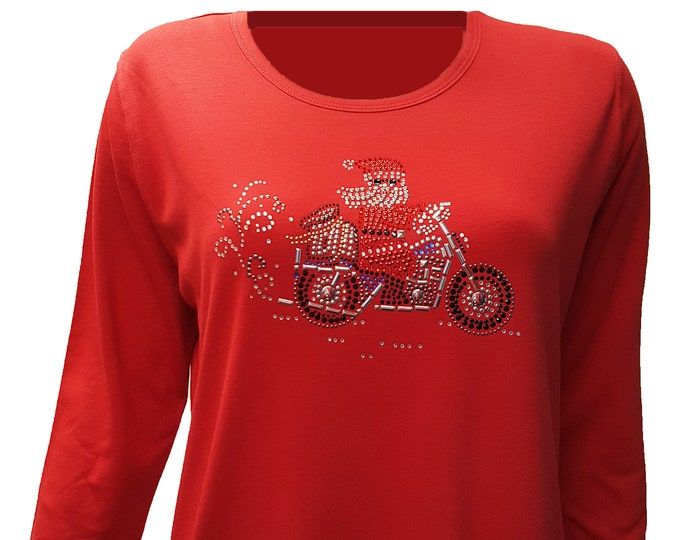 Christmas Motorcycle Santa Bling Red Shirt with Rhinestone Embellishment.