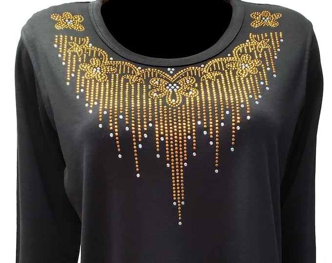 Gold Flower and Rain bling neckline black poly cotton shirt. Comfortable and light weight.