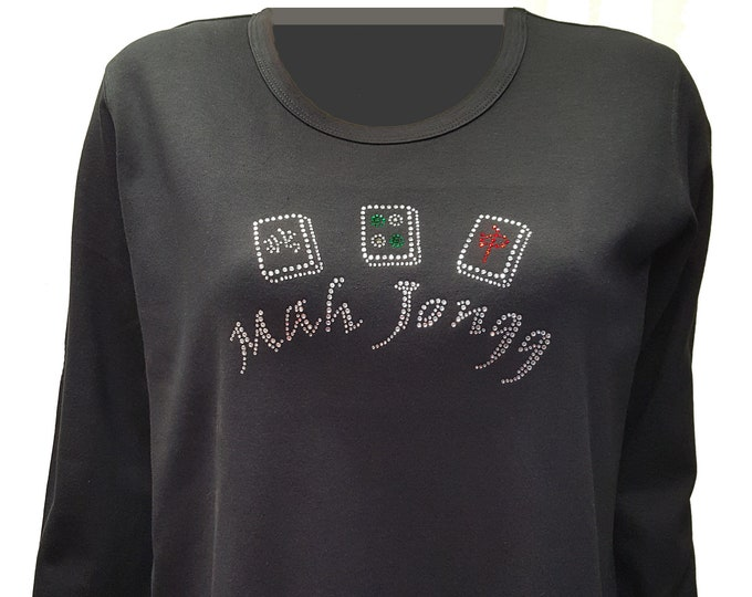 Mah Jongg Bling Black Scoop Shirt with Rhinestone Embellishment. Combed cotton poly blend.
