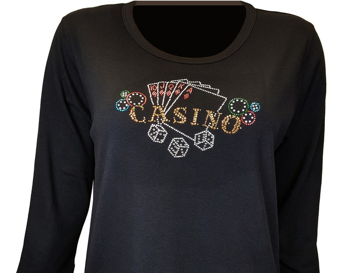 Casino Gold Bling Black Shirt with Rhinestone and Rhinestud Embellishment. Combed cotton poly blend.