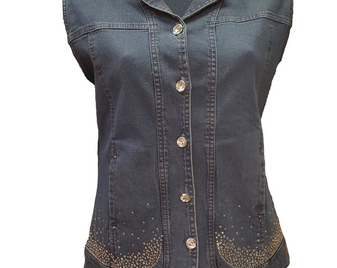 Blue Denim Bling Vest with Rhinestone Buttons and Crystal Embellishment.