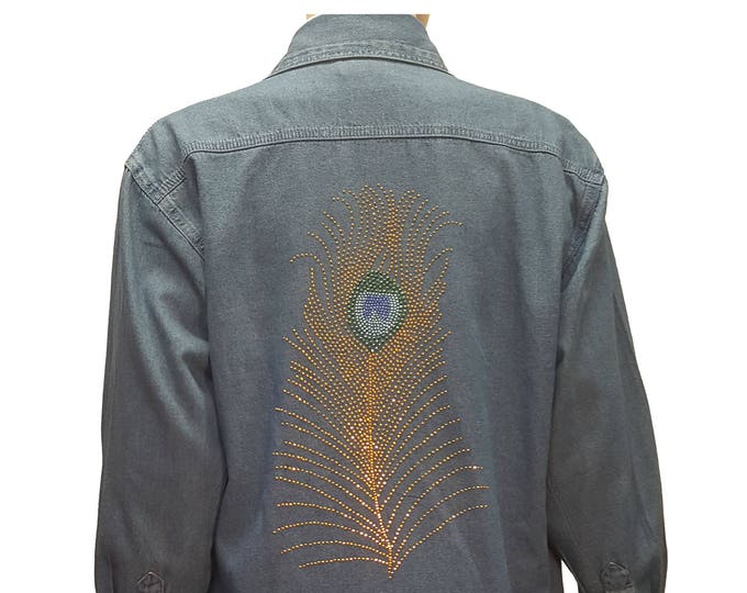 Denim Bling Shirt with Peacock feather Rhinestone and Rhinestud Design with Bling Collar in stone wash distressed fabric.