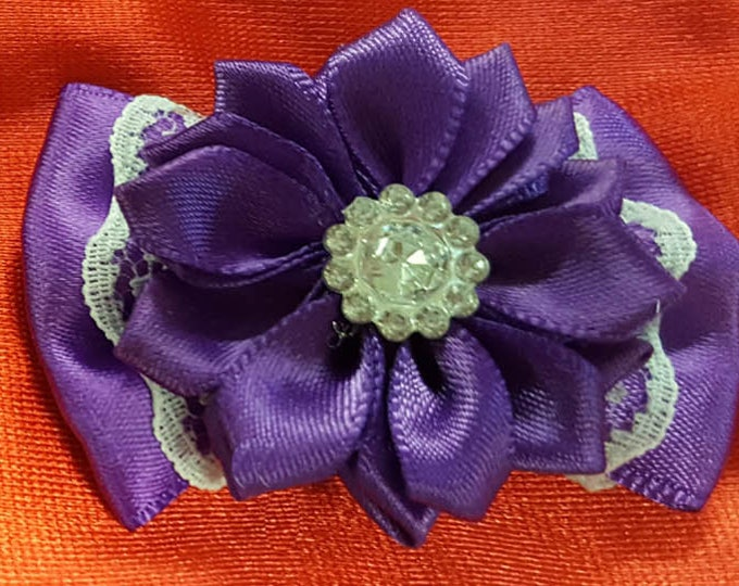 Pair of Shoe Clips with Purple Satin flower, lace bow and faux crystal center.  French Bluette Hardware.