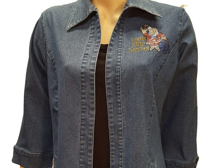 Lonestar Santas Logo bling denim duster with stud and crystal embellishment.