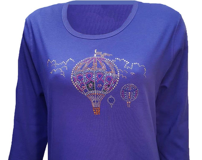 Hot Air Balloon Bling Blue Shirt with Rhinestone Embellishment.