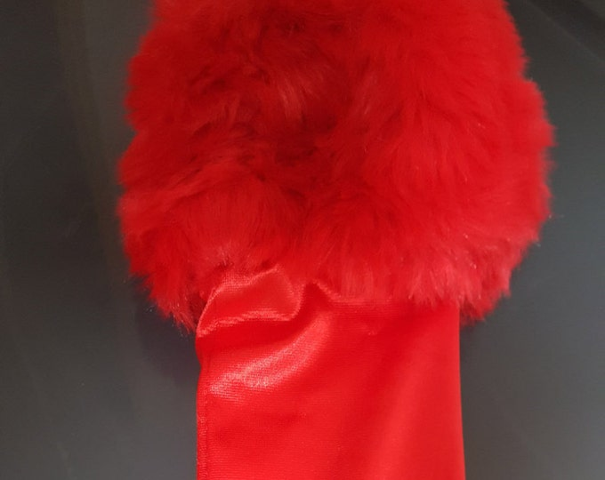 Red satin glove with red faux fur cuffs