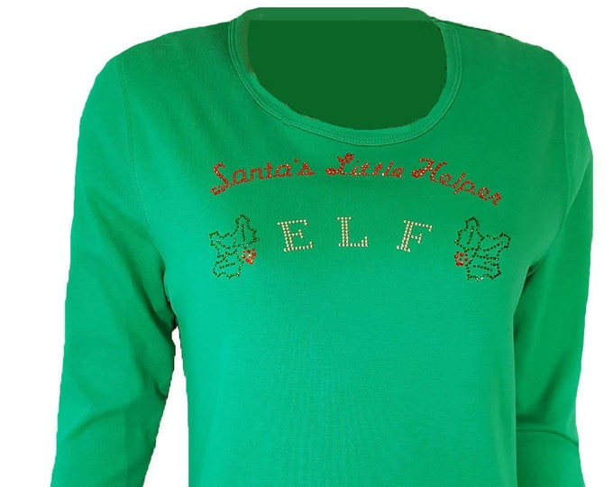 Elf Christmas Bling Shirt. Rhinestone Embellished Green Long Sleeve Tee shirt. Sizes S-L