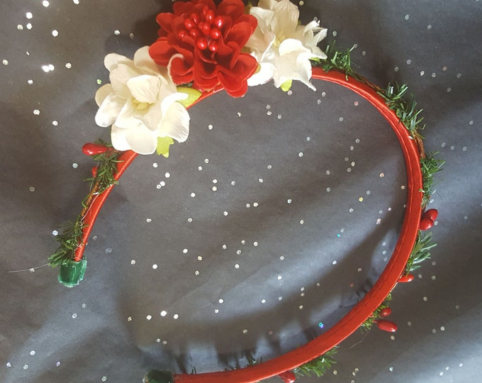 Christmas Red Satin Headband with Pine Needle Trim, Berries and Handcrafted flowers.