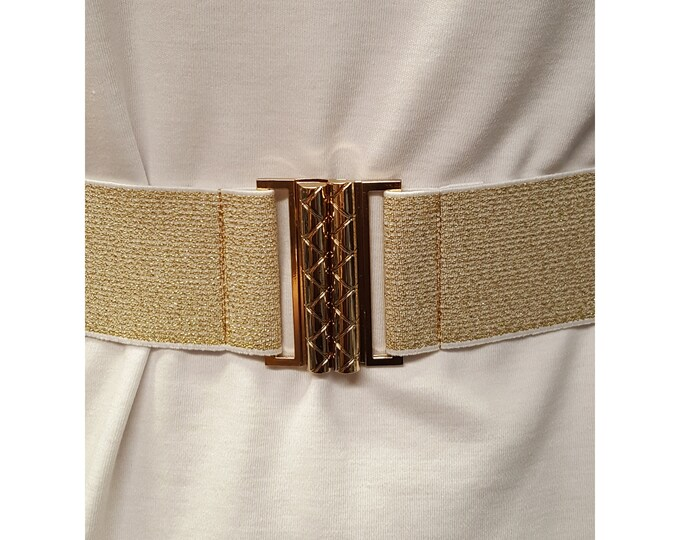 Gold or Silver Stretch Belt with Matching Metal Clasp Buckle