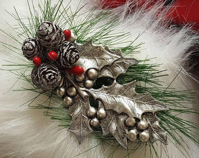 Silver Holly Christmas Brooches for Santa Hats or Suits. Handcrafted original designs.