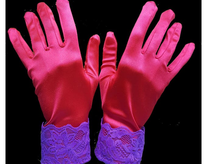Gloves red stretch satin with purple galloon lace cuffs. M-XL