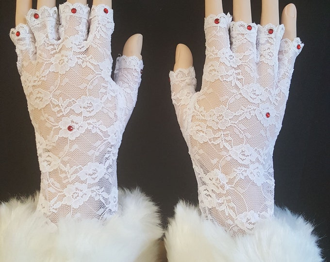 White Half Finger Lace Gloves with Red Austrian Crystals and White Faux Fur Cuffs. Storyteller Gloves-one size.