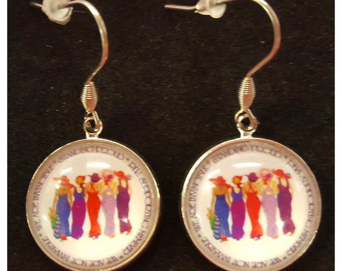Red Hat Society Ladies pierced earrings with stainless steel wires.