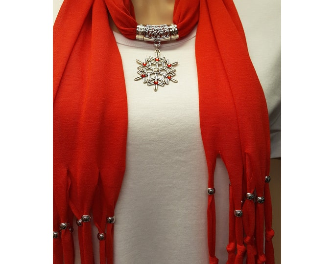 Snowflake Bling Red or White Fringe Scarf with Silver Metal Beads