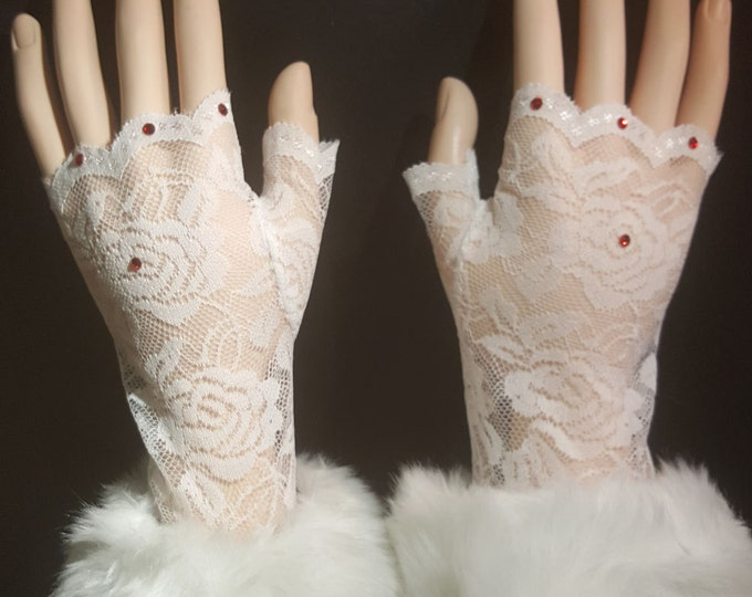 White Fingerless Lace Gloves with Red Austrian Crystals and White Faux Fur Cuffs. Storyteller Gloves-one size fits S-L