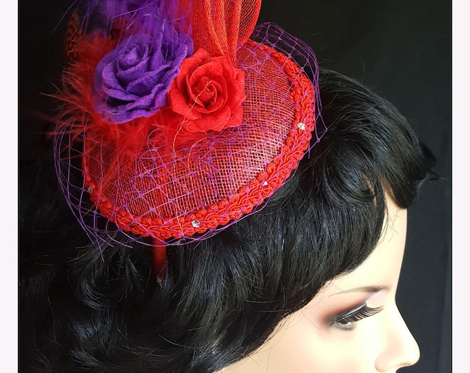 Rosy Feathers Fascinator headband with Sinamay, Felt flowers, Feathers, Netting and Rhinestones.