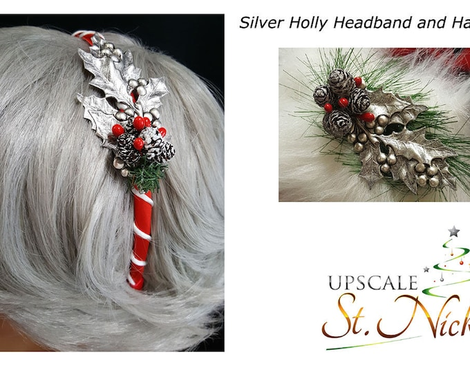 Silver Holly Hatpin and Headband Matching Set.