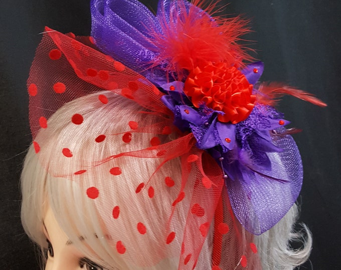 Two Toned Beauty Fascinator Headband with Red  and Purple Netting, Satin flowers, Feathers and Rhinestones.