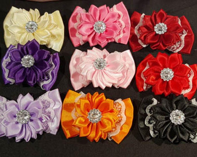 Shoe Clips with Satin flower, lace bow and faux crystal center. NIne colors available.  French Bluette Hardware.