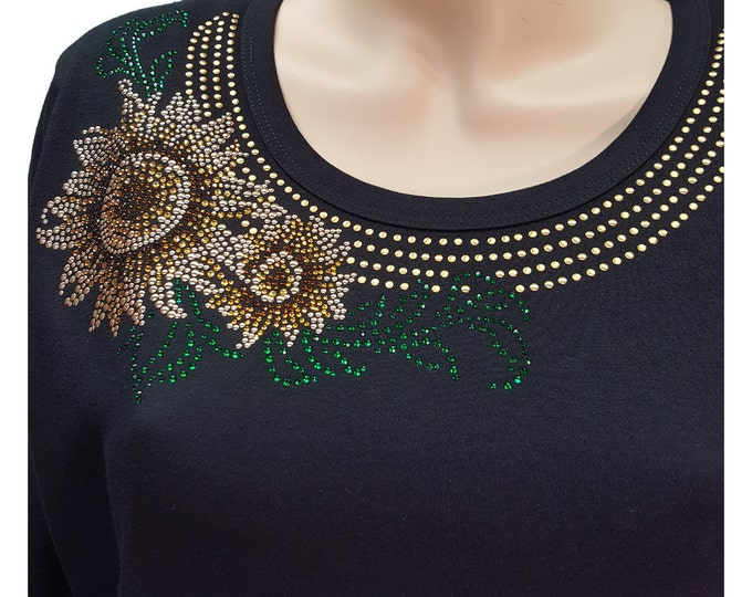 Sunflower Bling Shirt with Rhinestone Embellishment.  Combed cotton poly blend.