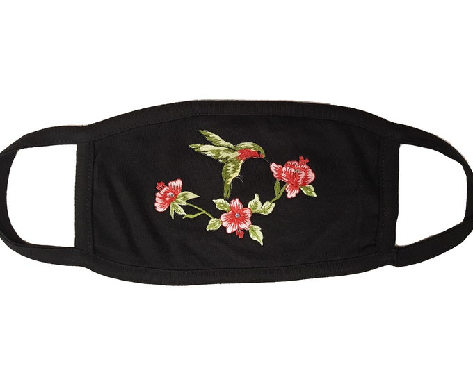 Hummingbird embroidered black or white mask with rhinestones and double layer protection