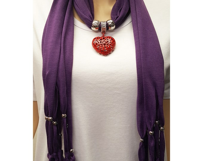 Purple Scarf with Red Metal Heart and Beads