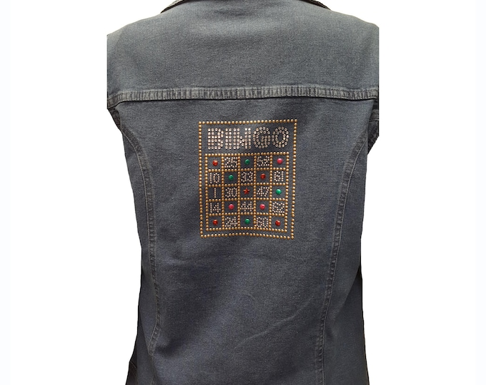 Denim Vest with Bingo Card bling on the back and Bingo on front.