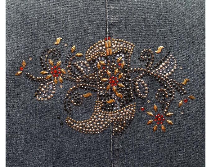 Cowgirl Boot Bling denim jacket blue duster rhinestone and metal embellishment.