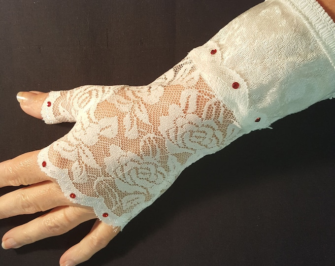 White Fingerless Lace Gloves with Red Austrian Crystals and White Velvet Cuffs. Storyteller Gloves-one size.