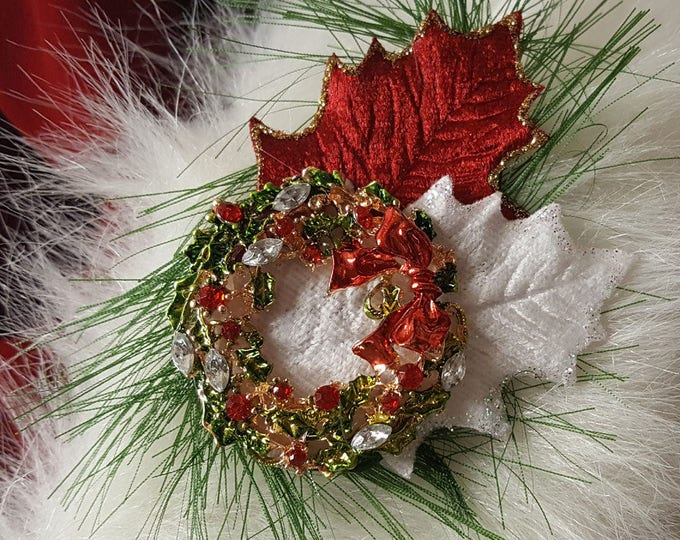 Wreath Christmas Brooch for Santa Hats or Suits. Handcrafted original designs.