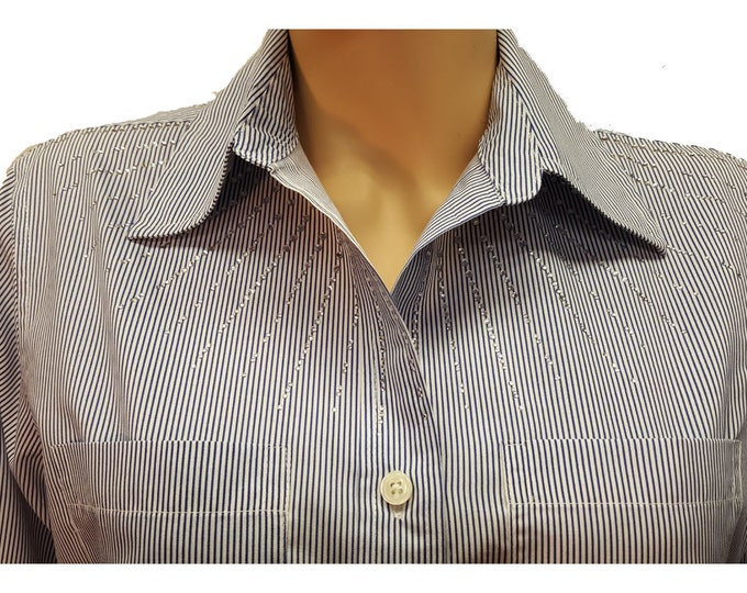 Rhinestone starburst neckline baby striped poly cotton tunic length shirt.