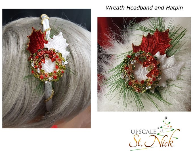 Wreath Hatpin and Headband Matching Set.