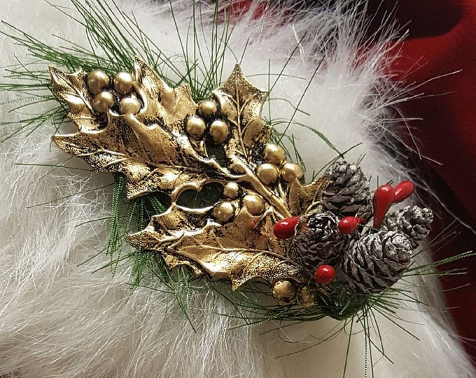 Gold Holly Christmas Brooch for Santa Hats or Suits. Handcrafted original designs.