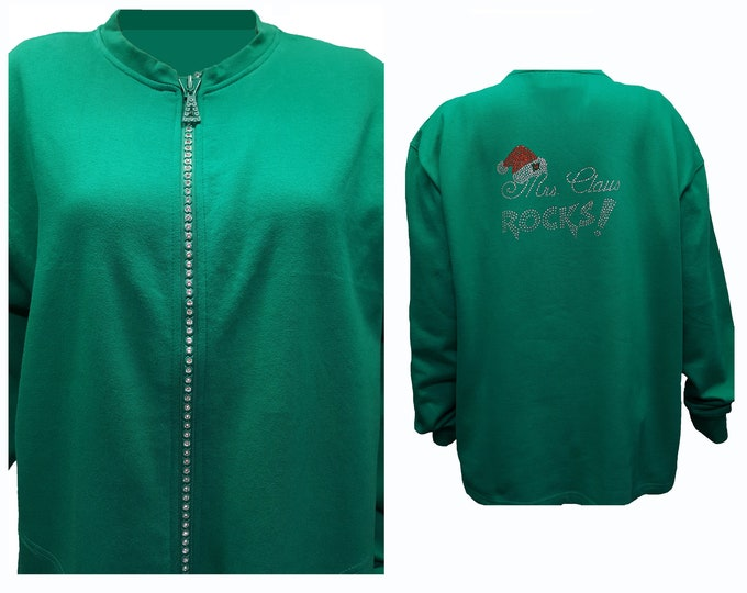 Mrs Claus Green Fleece Lined Cardigan Sweater with Crystal Zipper.