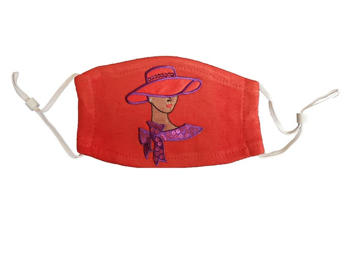 Red Hat Society Dark Skin Lady Bling embroidered red mask with sequins and washable filter