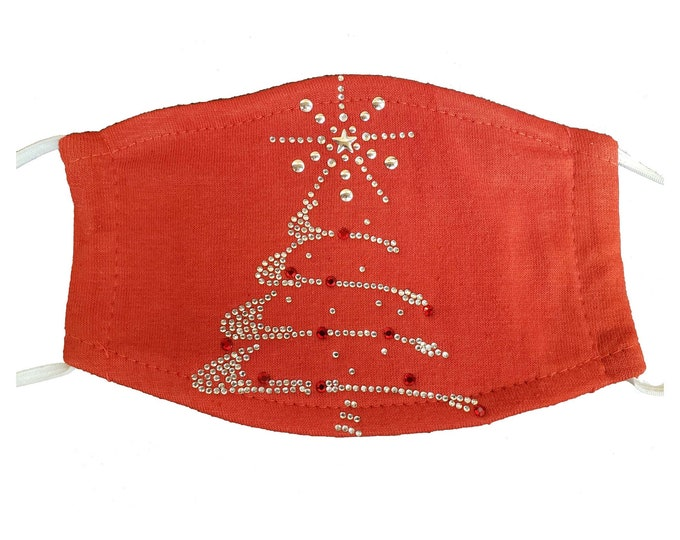 Christmas Tree bling mask with rhinestones black, white or red