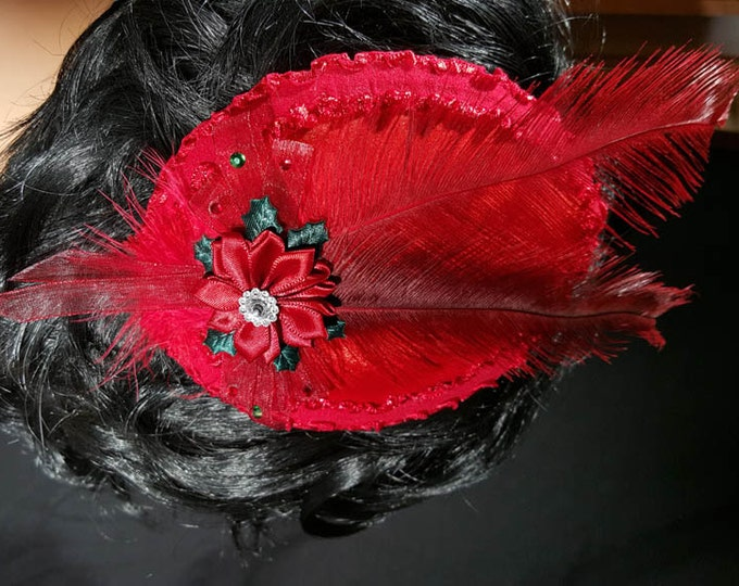 Burgundy Dream velvet ruffled satin trimmed fascinator hat, organza bow, satin flower with crystal center, and feathers with clip.