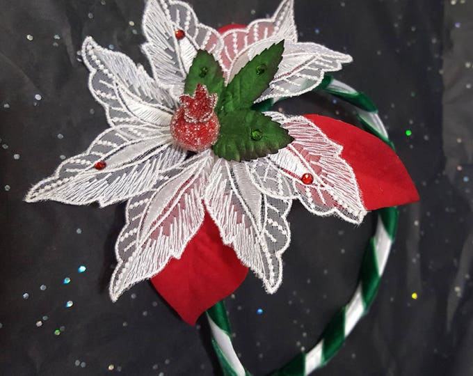 Poinsettia Embroidered White Satin Green Velvet Headband with Mulberry Leaves, Beaded Holly Berry, Flocked Leaves and Colorful Rhinestones.