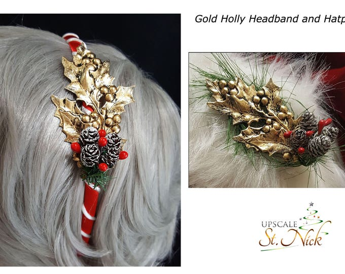 Golden Holly Hatpin and Headband Matching Set.