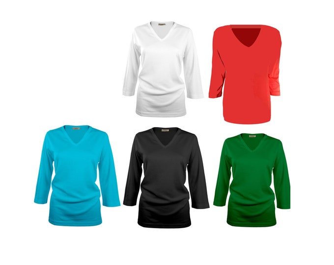 Blank high quality vee neck shirts for wear or embellishment