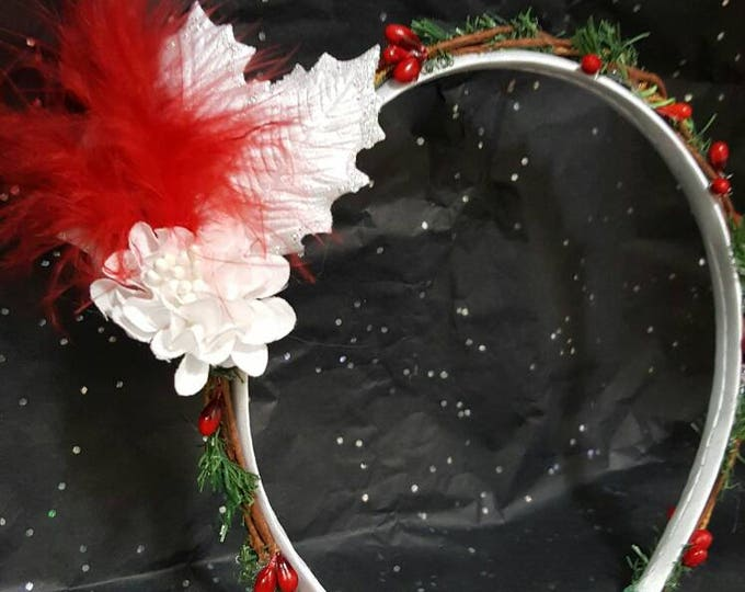 Christmas White Satin Headband with Mini Pine Garland, Berries, White Velvet Silver Glitter Trimmed Leaves, Silk Poinsettia and red feather.