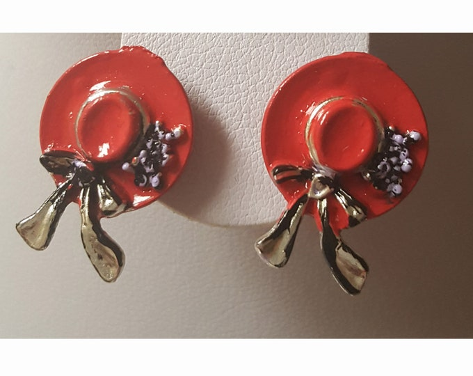 Red Hat Lady Pierced Earrings with hand painted hats.