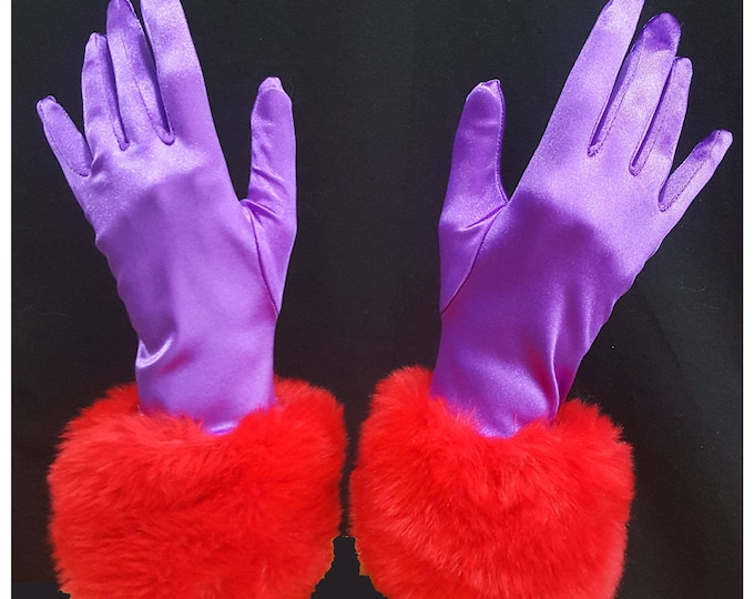 Gloves Red and Purple in stretch satin with red faux fur cuffs. M-XL