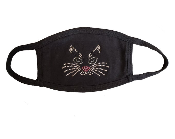 Cat bling mask in black or white with rhinestones and double layer protection