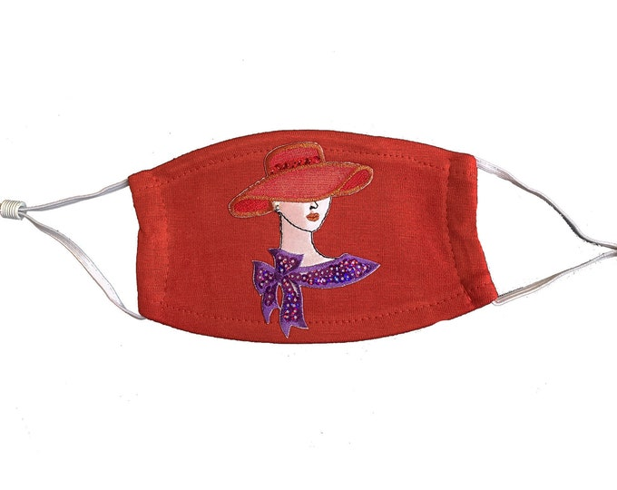 Red Hat Society Lady Bling embroidered red mask with sequins and washable filter
