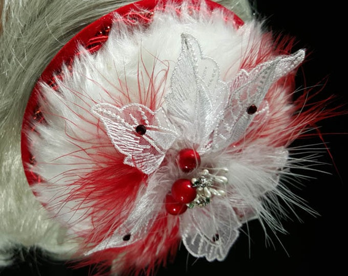 Christmas fascinator bling hat white faux-fur with red satin beaded trim and red feathers plus crystal enhanced embroidered white poinsettia