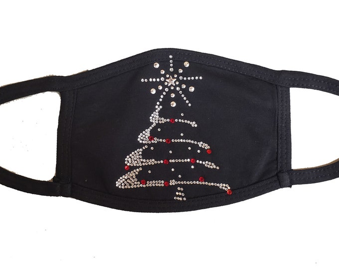 Christmas Tree bling mask with rhinestones and double layer protection