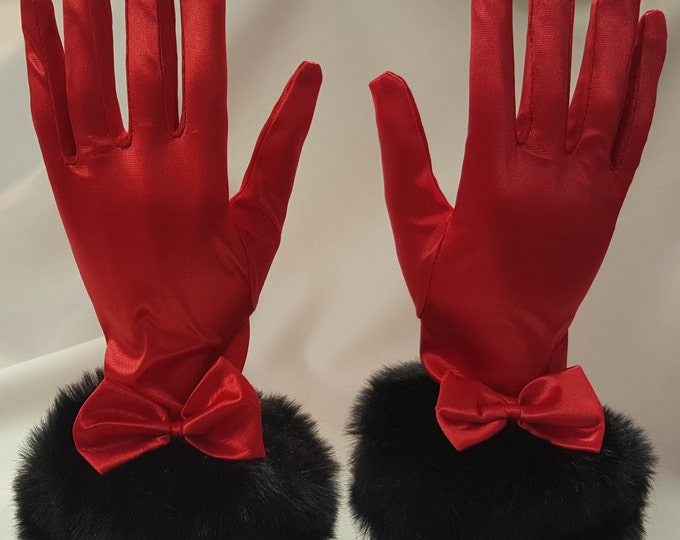 Gloves red with black faux fur cuffs and satin bow. Dramatic and lovely. S-M