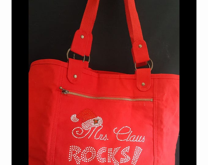 Mrs Claus Rocks Totebag Red or Black Zip