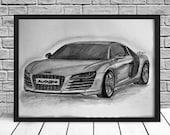 Items Similar To Audi R8 Drawing Audi Car Drawing Audi R8 Car